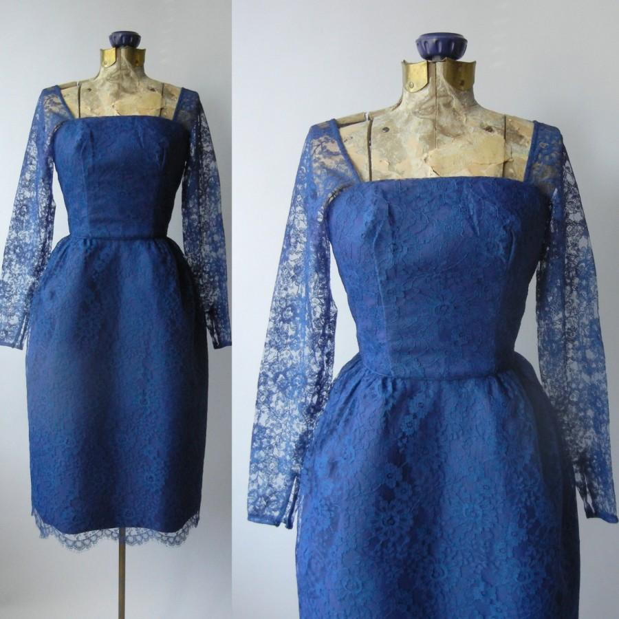 Wedding - 1950 Dress, Blue 50s Dress, Blue Lace Vintage Dress, 1950 Blue Dress, Retro Wedding Dress, 1950s Blue Bridal Dress, 50s Blue Lace Bridesmaid