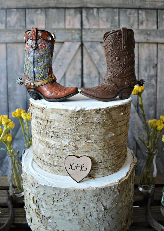 Western-bride And Groom-wedding-cake Topper-western Wedding-boots ...