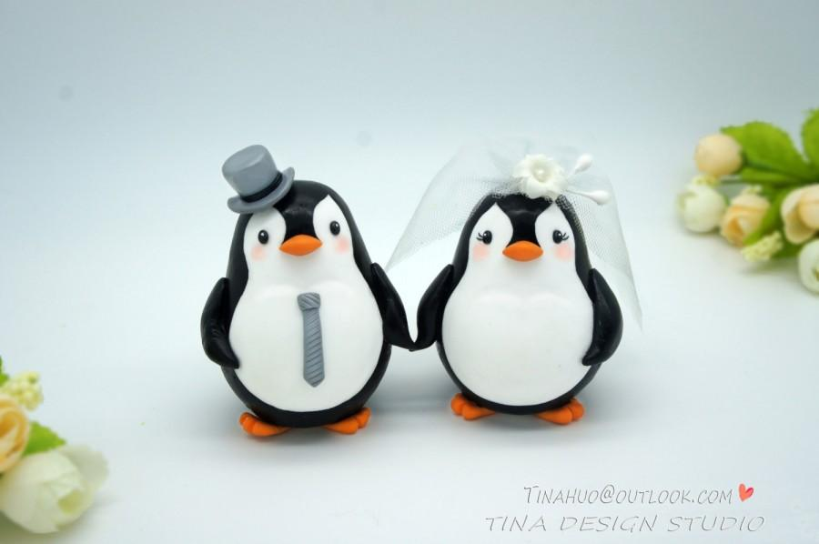 Bride And Groom Penguin Cake Topper