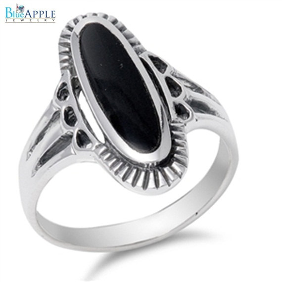 Mariage - Oval Black Onyx Unique Engrave Ring Black Onyx Gemstone Ring Solid 925 Sterling Silver Split Shank Rope edge Fashion Engagement Wedding Ring