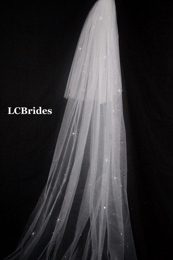 Mariage - Cathedral Veil 2 Tier Swarovski Crystal Cut Edge