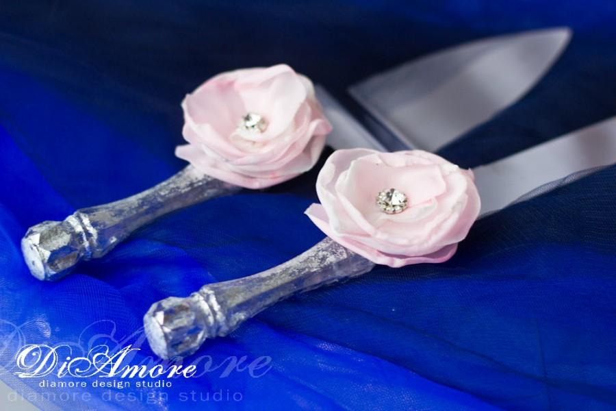 Mariage - Wedding cake server and knife / silver cake knife and server / LACE cake accessories