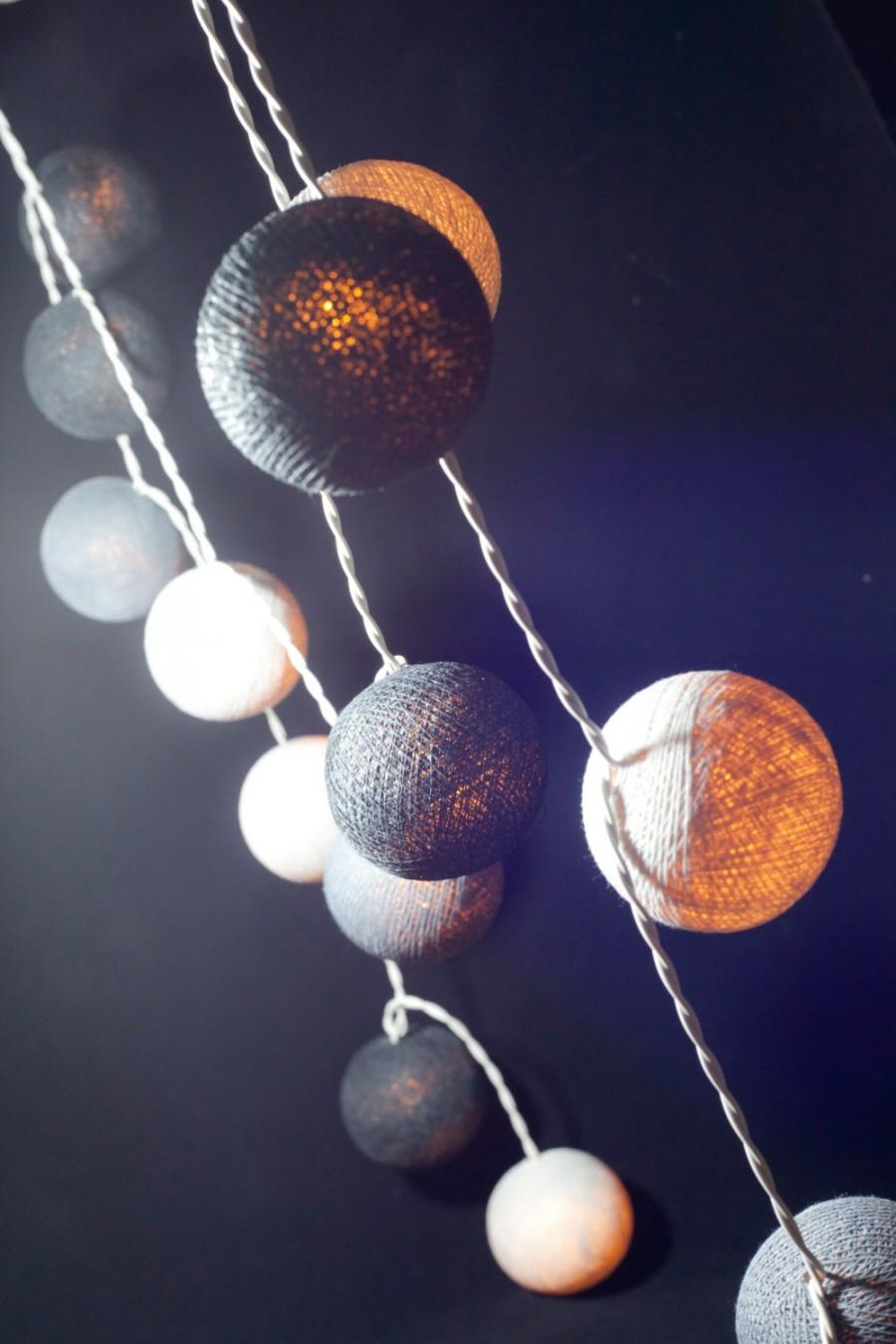 Mariage - 20 Gray Tone Cotton Ball String Lights for Decor Bedroom Wedding Patio Party Garden Spa and Holiday lighting Indoor Outdoor