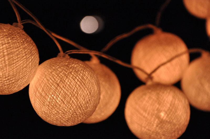 Mariage - 35 White Cotton Ball String Lights for Wedding  Patio Party Garden Spa Bedroom and Holiday lighting Indoor Outdoor