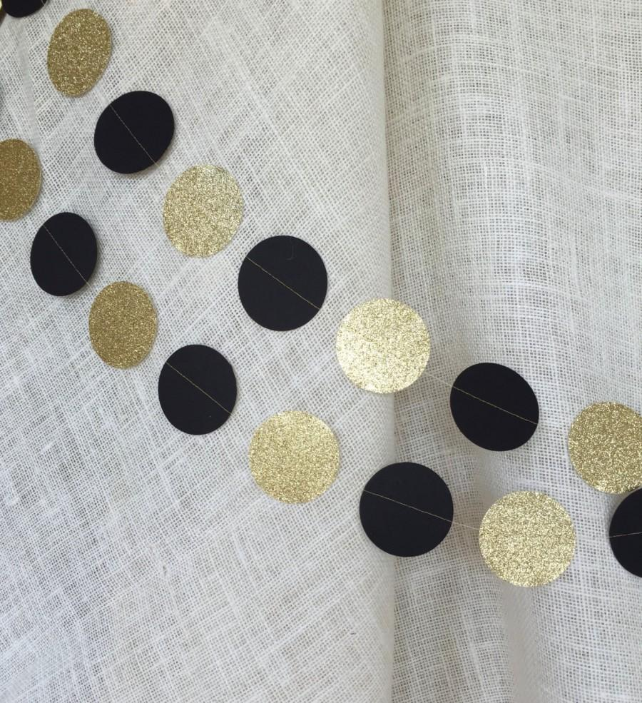 50th Birthday Decoration Black And Gold Glitter Circle Garland Wedding DecorParty DecorBlack DecorPaper GarlandNew Years Eve