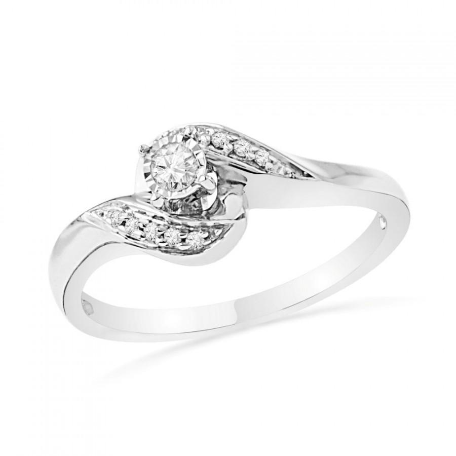 8ea6da0a04e6c Diamond Promise Ring In Sterling Silver Or White Gold Ring, Womens ...