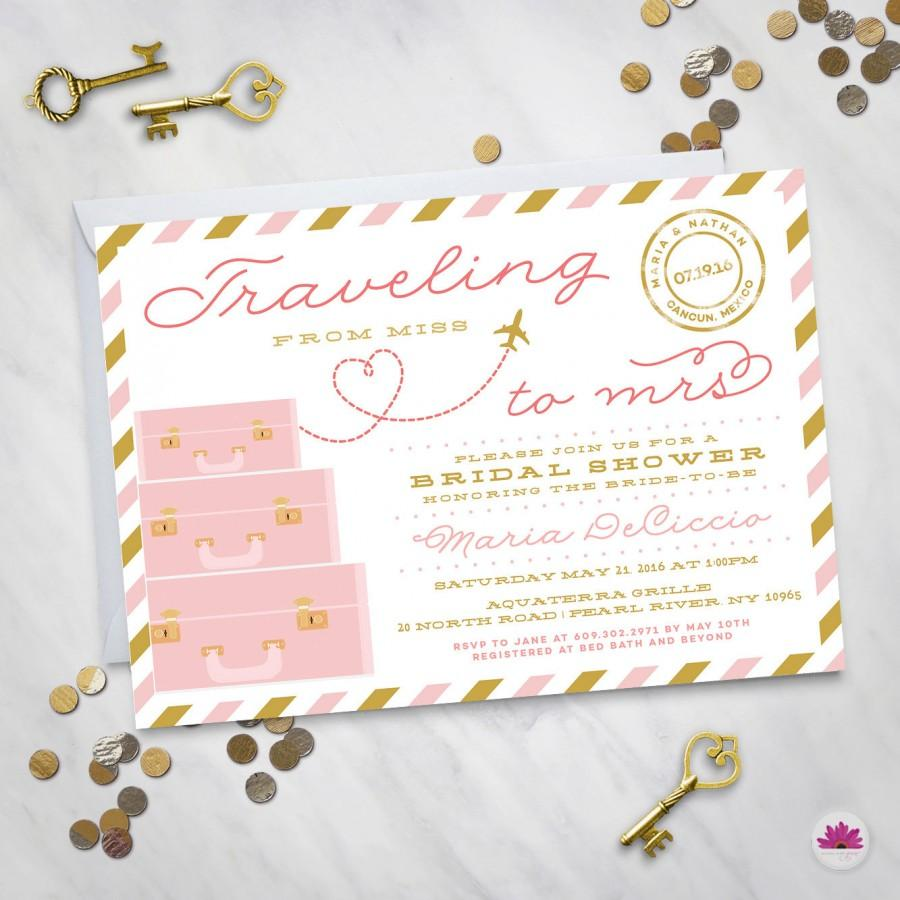 Mariage - Traveling from Miss to Mrs.– Bridal Shower Invitation (Digital file)