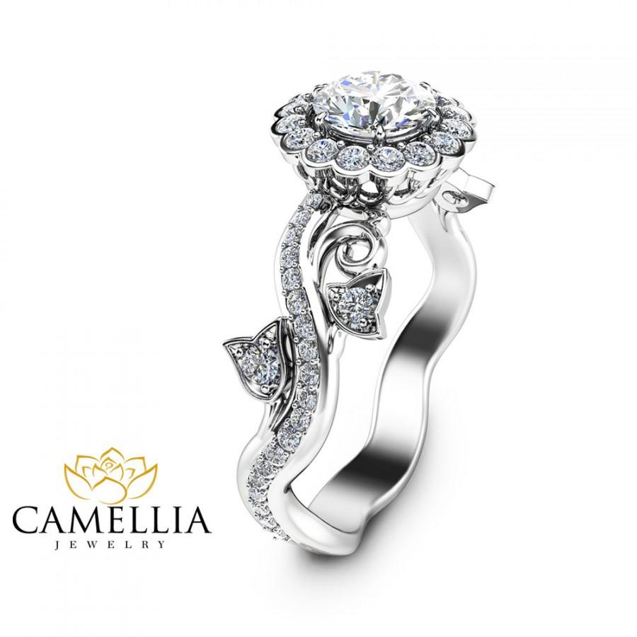 Mariage - Halo Engagement Ring 14K White Gold Half Carat Naural Diamond Art Deco Engagement Ring