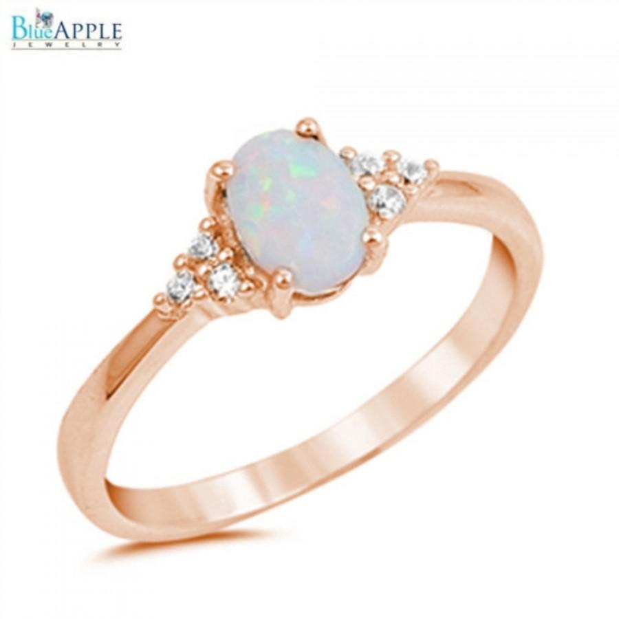 Hochzeit - Oval Cut White Opal Ring Pink Rose Gold Solid 925 Sterling Silver Lab Made White Opal Round Russian Clear Diamond CZ Wedding Engagement Ring