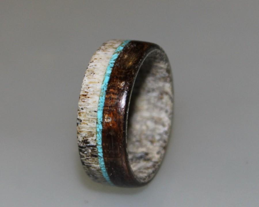 Свадьба - Deer Antler Ring, Antler Men's Ring, Wrapped Wood Ring, Turquoise Ring