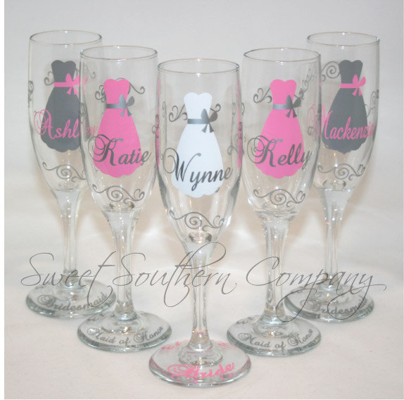 Hochzeit - 6 Personalized Bride and Bridesmaid Champagne Flutes with Strapless Gown