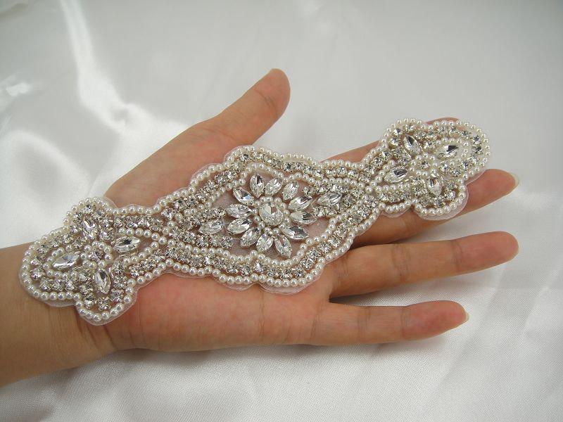 Hochzeit - Rhinestone applique, Diamante Applique, crystal applique for Bridal Sash, Bridal Applique, wedding applique, Gatsby Style, Wedding belt