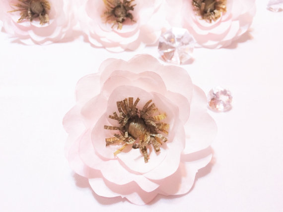 Anemone blush and gold paper anemone paper flowers coffee filter anemone blush and gold paper anemone paper flowers coffee filter flowers faux flower blush artificial flower floral arrangment flower mightylinksfo