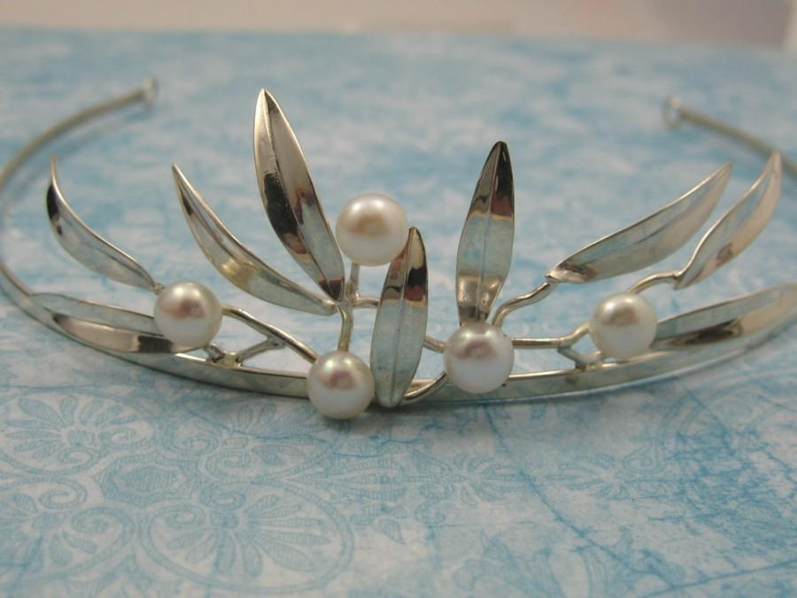 Hochzeit - Wedding Tiara Pearl  Sterling Leaves