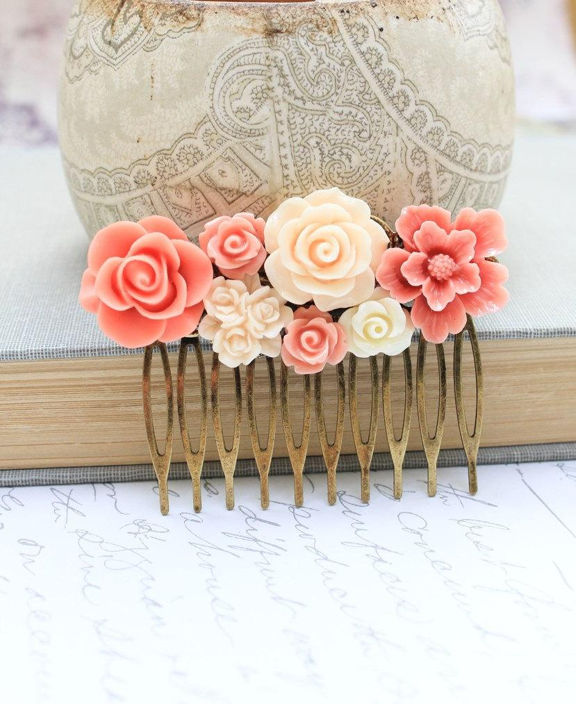 Wedding - Bridal Hair Comb Peach Coral Rose Hair Comb Ivory Cream Floral Collage Country Chic Hair Accessories Brass Metal Comb Flowers for Hair