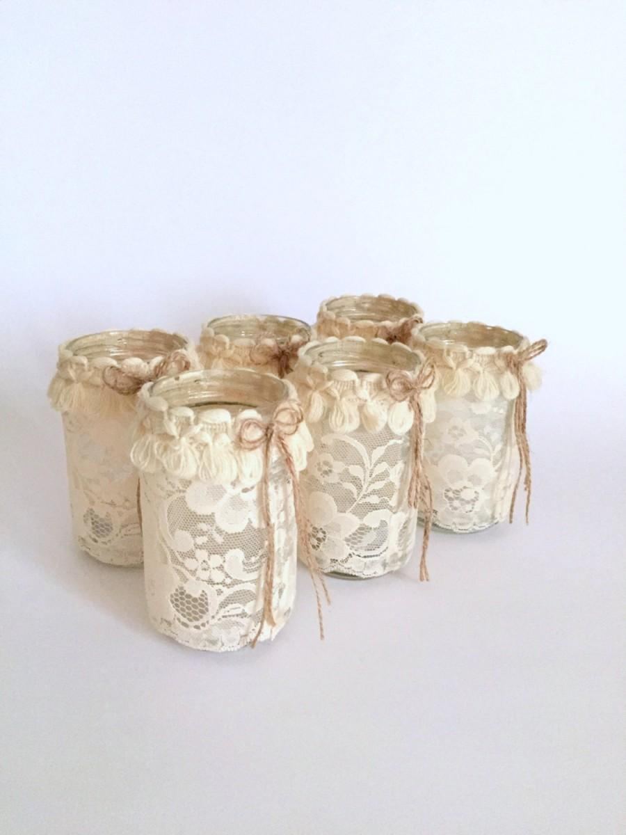 Set Of 6 Mason Jar With Candle, Shabby Chic Mason Jar, Wedding Light ...