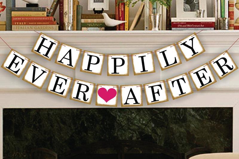 زفاف - Happily Ever After Banner - Wedding Photo Prop - Wedding Sign - Reception Garland - Wedding Banner