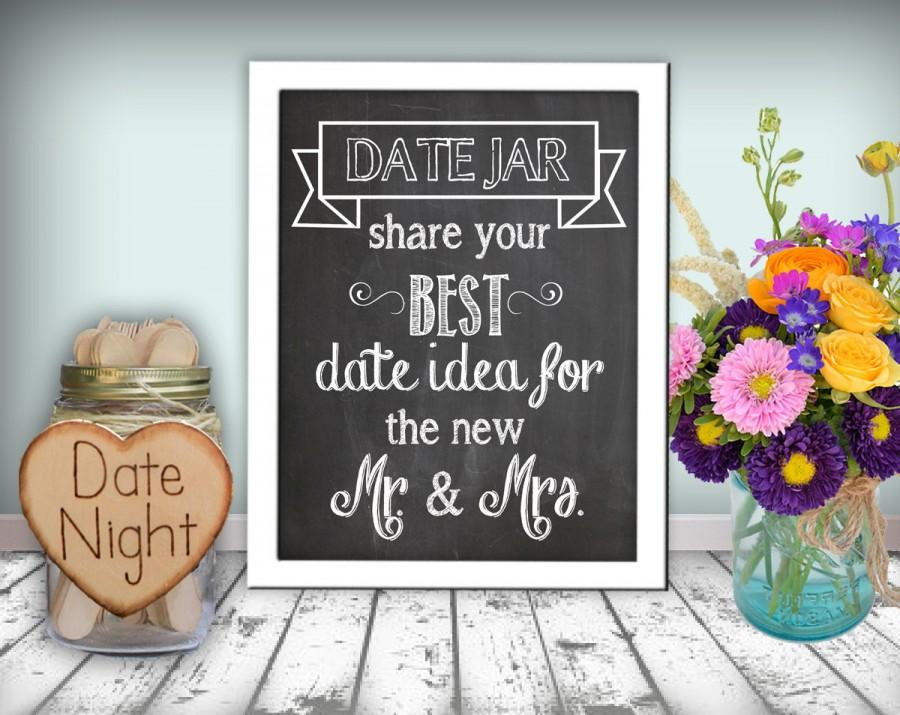 زفاف - Date Jar Sign Chalkboard Printable 8x10 PDF Instant Download Rustic Shabby Chic Woodland