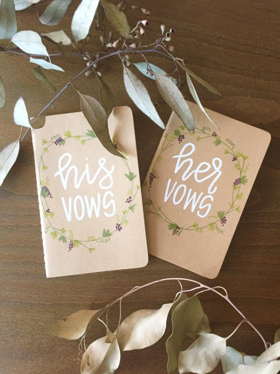 زفاف - his & hers wedding vow book floral decorated / custom set of 2 kraft moleskin journals.
