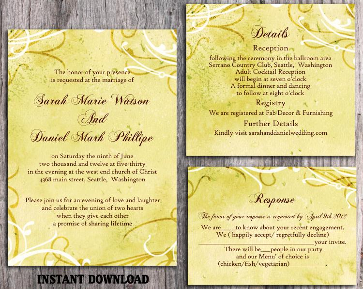 DIY Rustic Wedding Invitation Template Set Editable Word File