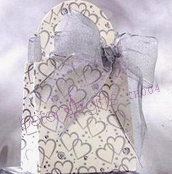 Wedding - 12pcs Purple Hearts Favor Box, Place Card Decoration TH004