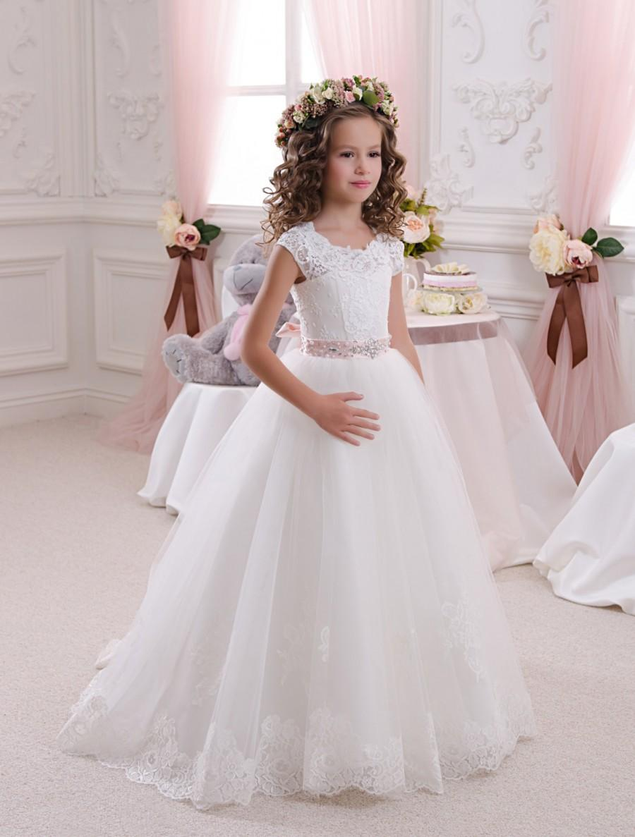 Wedding - Lace Ivory Flower Girl Dress - Holiday Wedding Birthday Party Bridesmaid Ivory Lace Tulle Flower Girl Dress