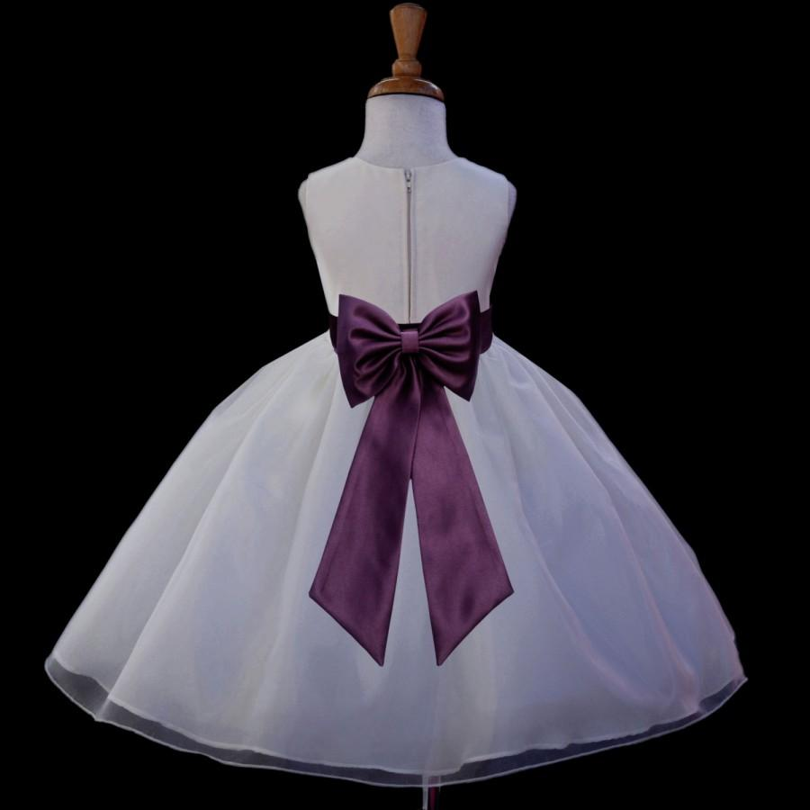 Свадьба - Ivory Organza Flower Girl dress tiebow sash pageant wedding bridal recital children bridesmaid toddler elegant sizes 12-18m 2 4 6 8 10