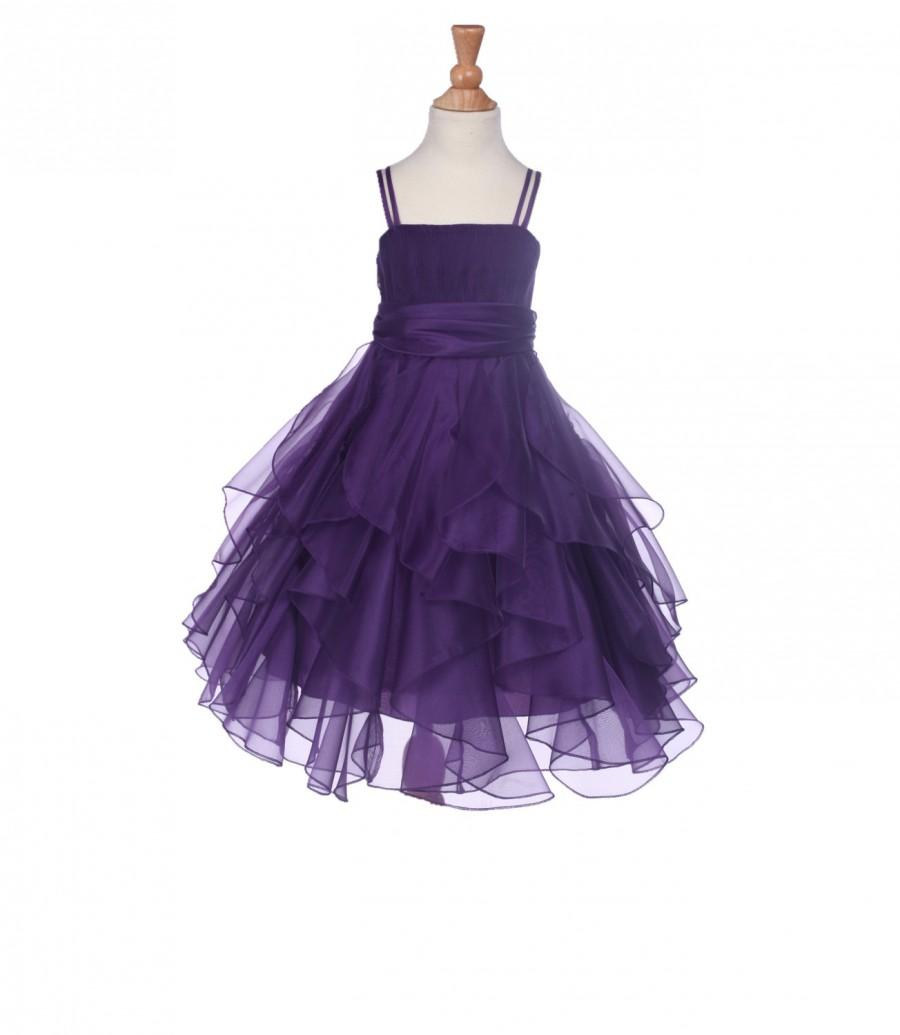 Düğün - Elegant Stunning Purple Organza flower girl dress pageant wedding princess bridal bridesmaid toddler size 12-18m 2 4 6 6x 8 9 10 12 14 #151