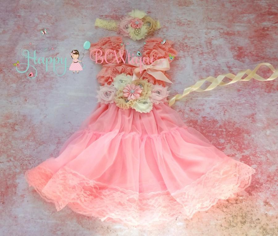 Wedding - Flower Girl Dress- Embellished Pink Chiffon Lace Dress, Girls dress,Pink Dress,baby dress, Birthday dress, wedding flower girls,bridesmaid