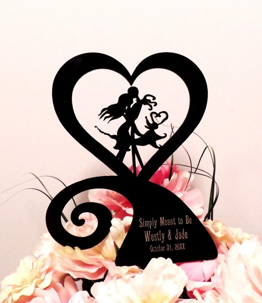 زفاف - Jack and Sally Heart Custom Engraved Wedding Cake Topper