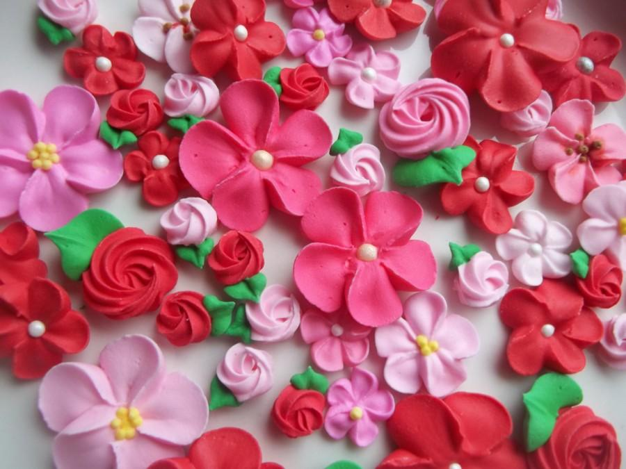 Pink And Red Flower Assortment Ready To Ship Valentines Day Mix Edible Cake Decorations Cupcake Toppers 48 Pieces