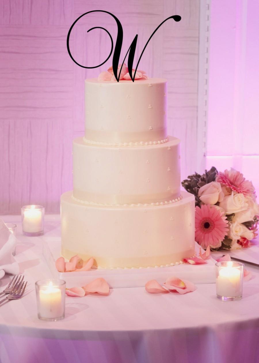 "زفاف - 5"" Tall Silver Gold Mirror Acrylic Wedding Monogram Initial Cake Topper Any Letter A B C D E F G H I J K L M N O P Q R S T U V W X Y Z"
