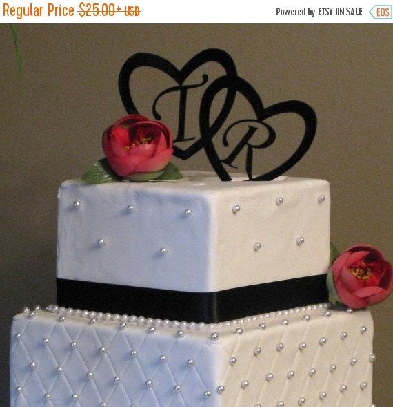Свадьба - ON SALE Wedding Cake Toppers, Heart Monogram Cake Toppers, Cake Toppers for Weddings, Custom Cake Toppers