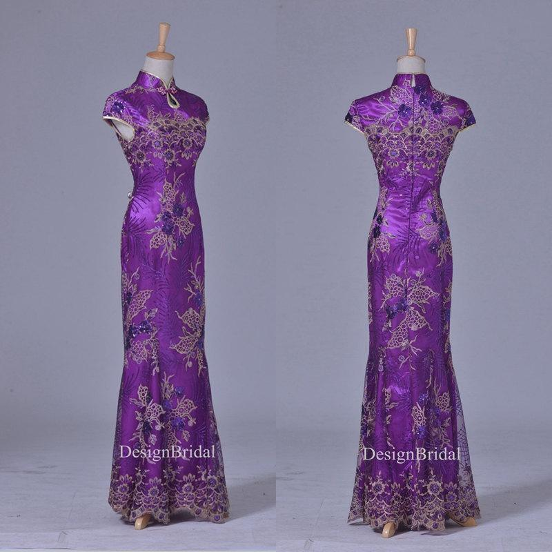 Qipao black purple lace sequin embroidery dress vintage for Wedding dress with purple embroidery