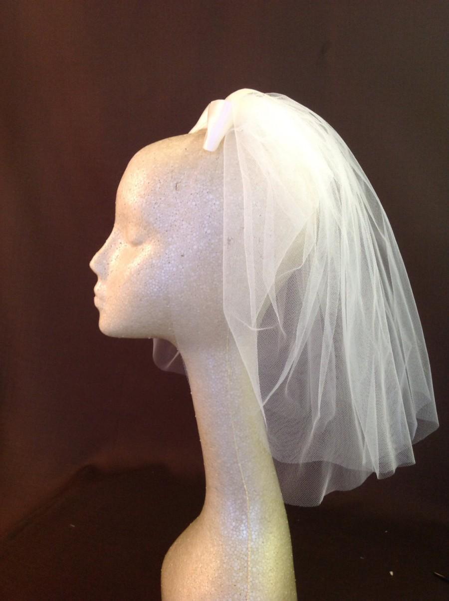 Wedding - TESS Short Tulle Veil with Blusher