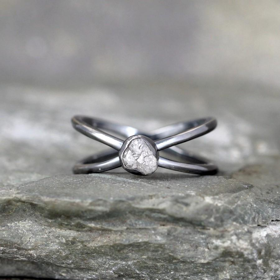 Mariage - Raw Diamond Infinity Ring - Ready to Ship Size 7 - Limited Edition Engagement Rings - Sterling Silver - Rough Uncut Diamonds -Made in Canada