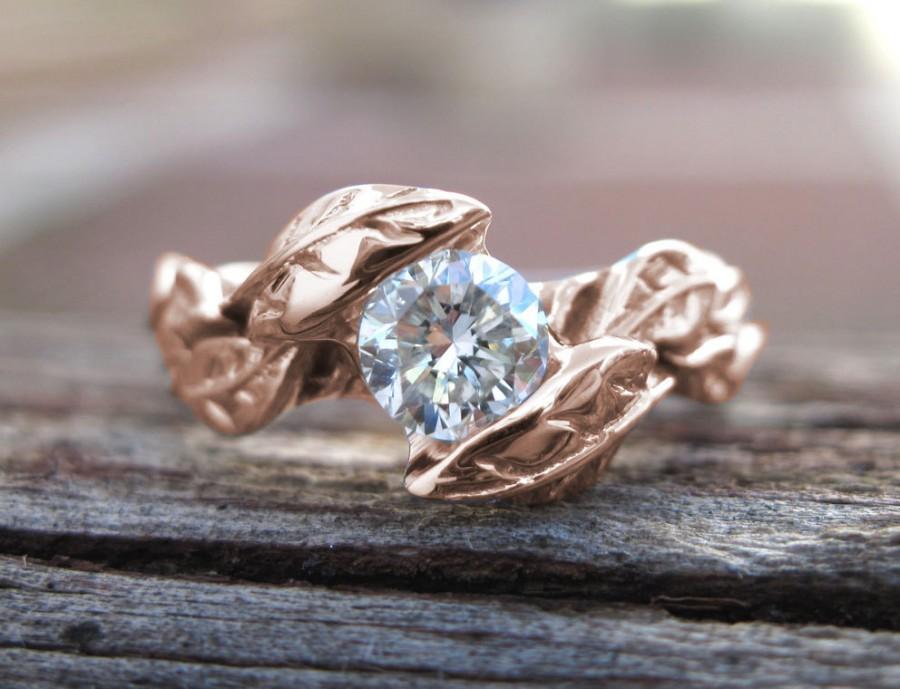 Hochzeit - Rose Gold Moissonite Engagement Ring, Leaves Moissanite Engagement Ring, Diamond Leaf Engagement Ring, Leaves Ring, Natural Engagement Ring