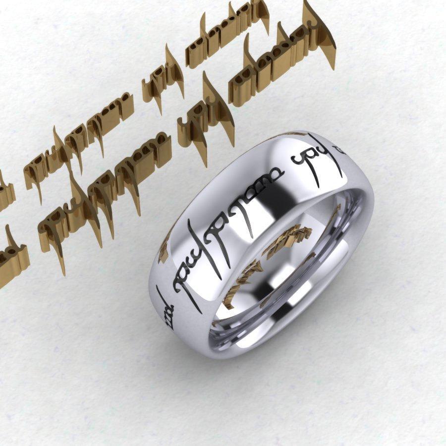 Custom Engraved Tengwar Ring Band Mens Jewelry Elvish Personalized