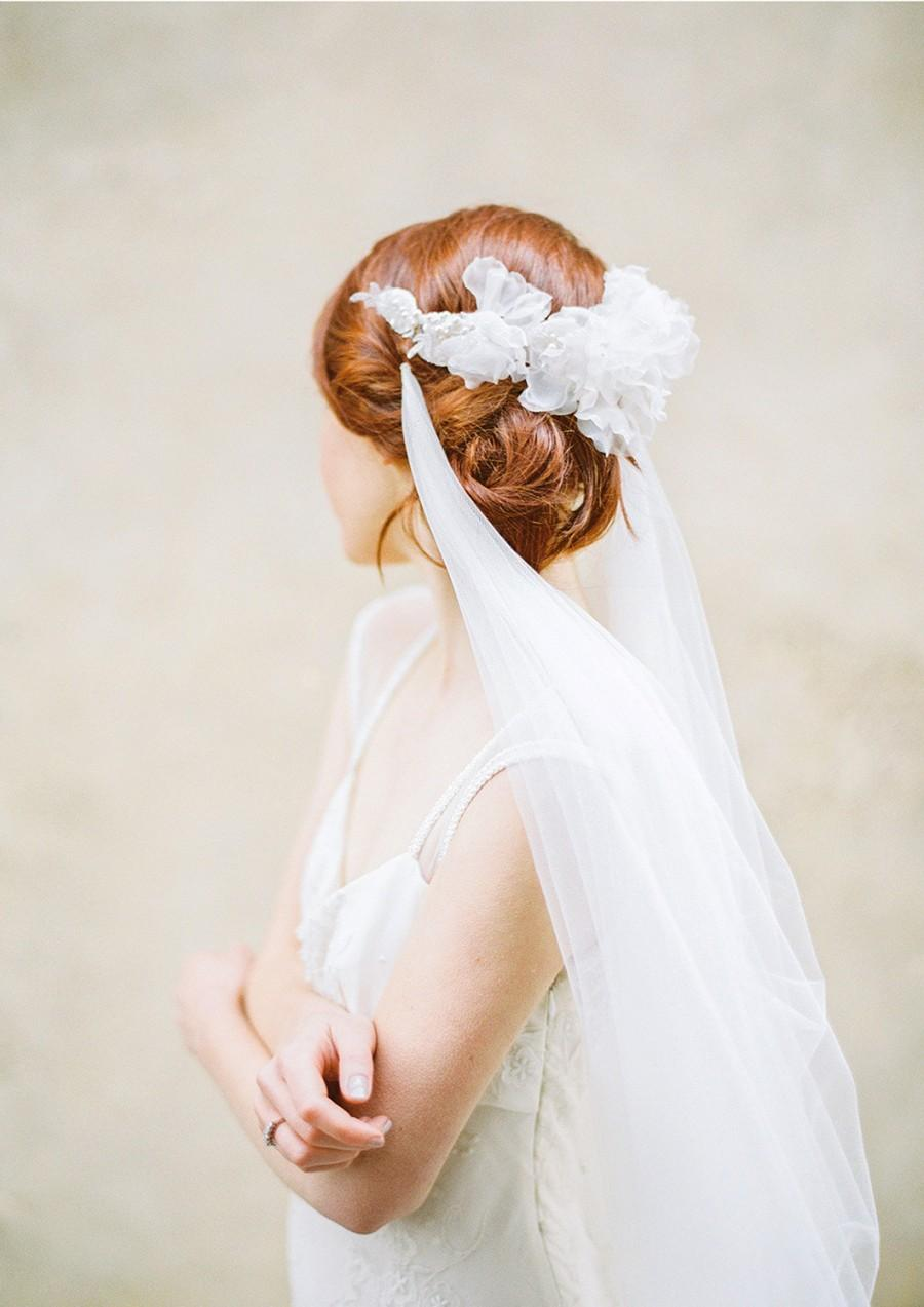 Mariage - Tulle Draped Bridal Veil in Chapel Length, Wedding Veil - Style 311