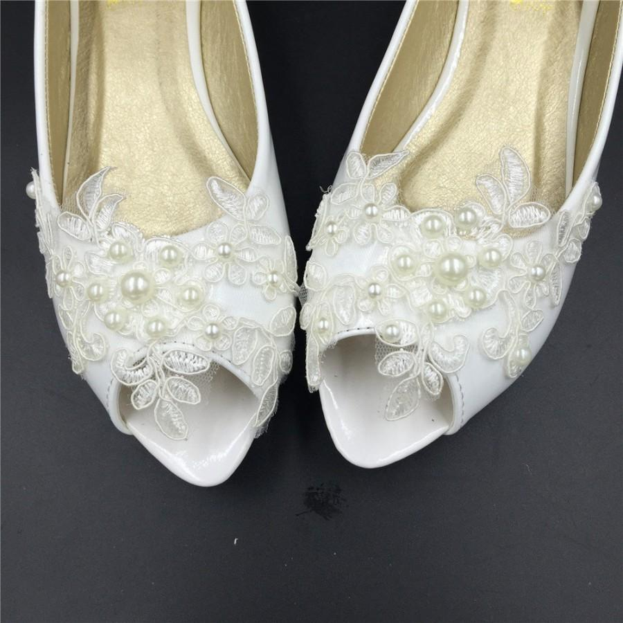 fdeac33dad2 Bridal Open toe Ballet Flats Wedding Shoes-All Full Sizes-Peep Toe Lace Wedding  Bridal Shoes