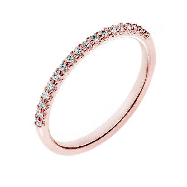 14K Rose Gold Diamond Wedding Band For Women 018 Carats G SI2