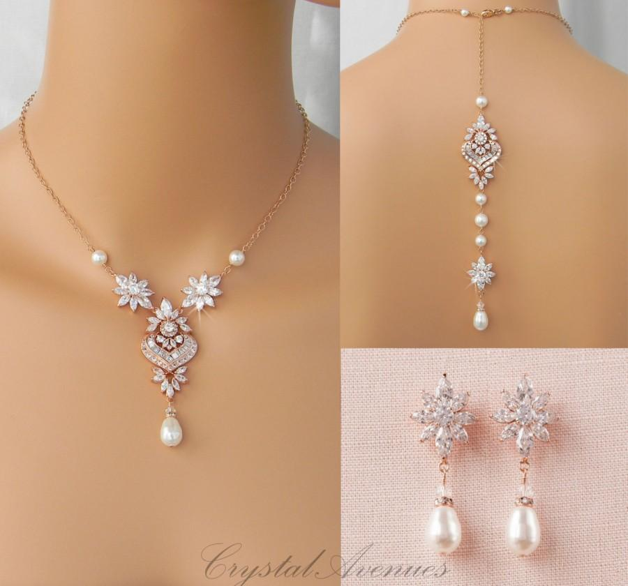Bridal Backdrop Necklace Rose Gold Jewelry Pearl Earrings Set Hannah