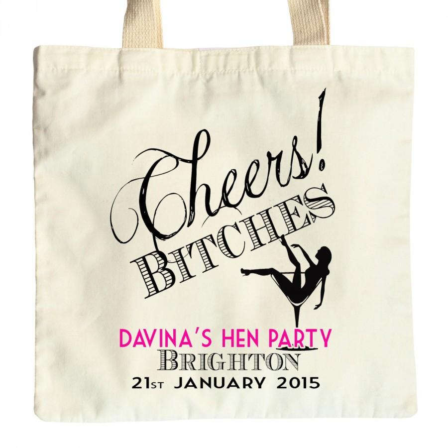 hen do bachelorette party tote bag personalized cotton long handle gift bag 2457332 weddbook. Black Bedroom Furniture Sets. Home Design Ideas