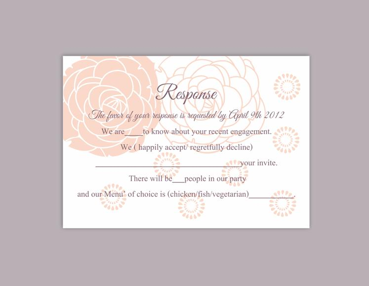 Wedding - DIY Wedding RSVP Template Editable Word File Instant Download Rsvp Template Printable RSVP Cards Floral Peach Pink Rsvp Card Rose Rsvp Card