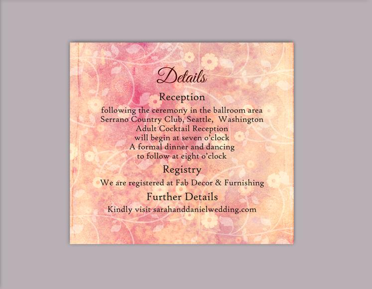 Wedding - DIY Rustic Wedding Details Card Template Editable Word File Download Printable Peach Details Card Pink Details Card Floral Enclosure Card