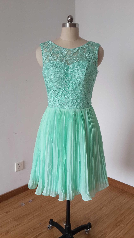 Hochzeit - 2015 V-back Mint Lace Chiffon Short Bridesmaid Dress Pleating Skirt