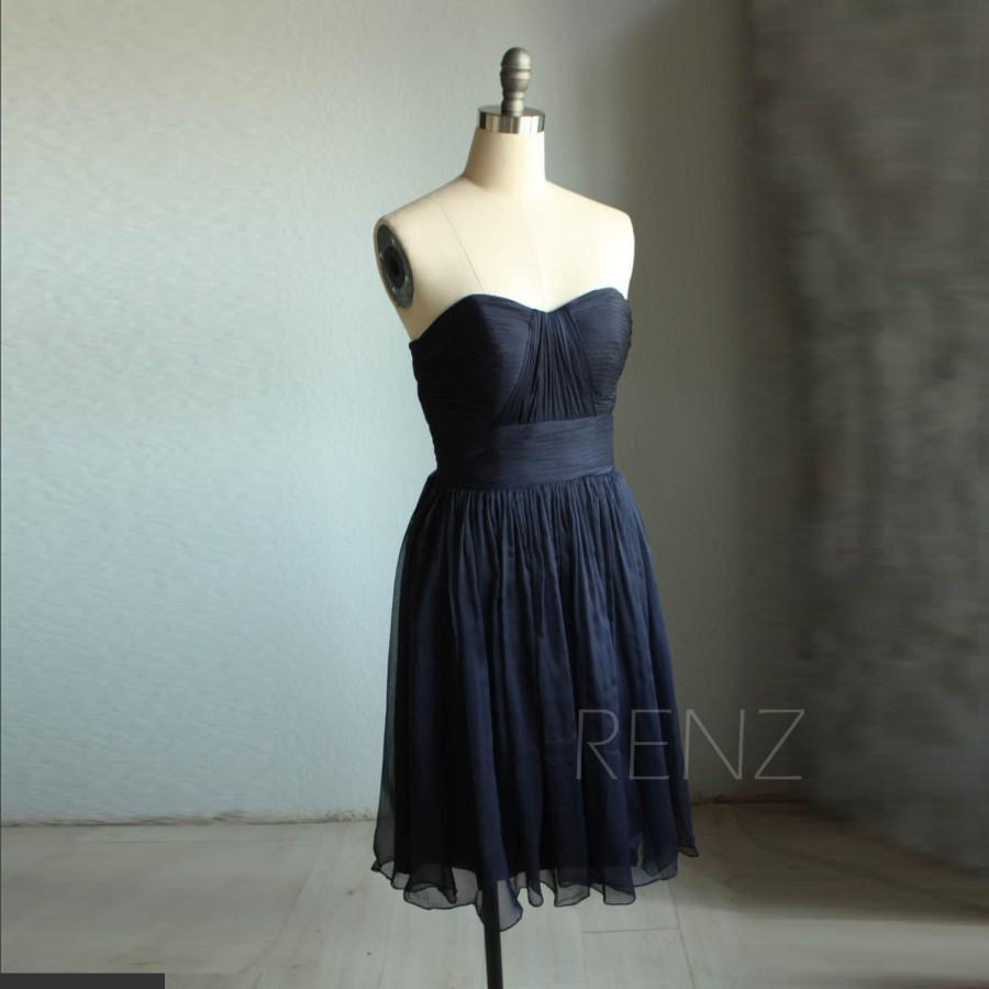 2015 Navy Blue Bridesmaid Dress Strapless, Sweetheart Backless ...