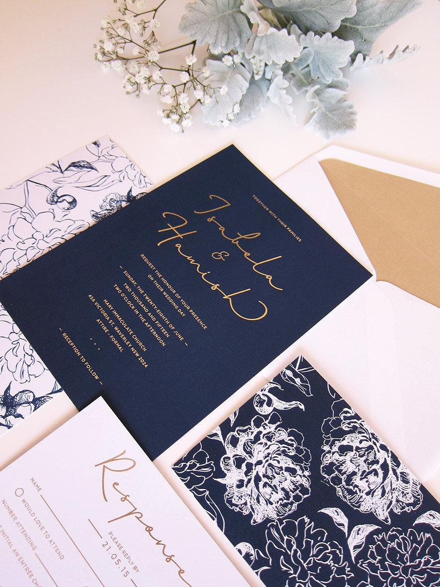 Mariage - Navy and Gold Wedding Invitation - DEPOSIT