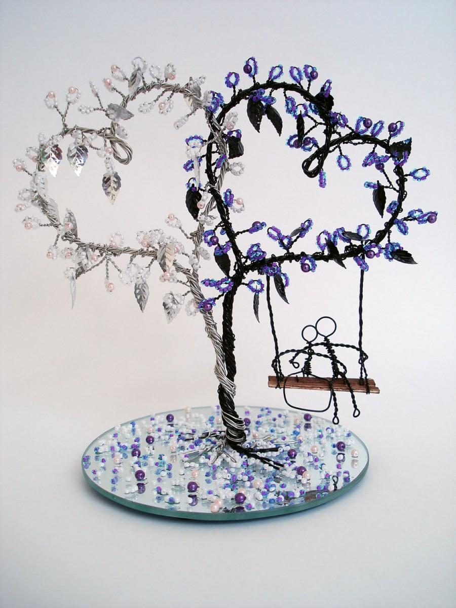 Mariage - Double Heart Wire Art Tree - Wedding Decoration, Cake Topper, Bridal Shower Gift - Made To Order