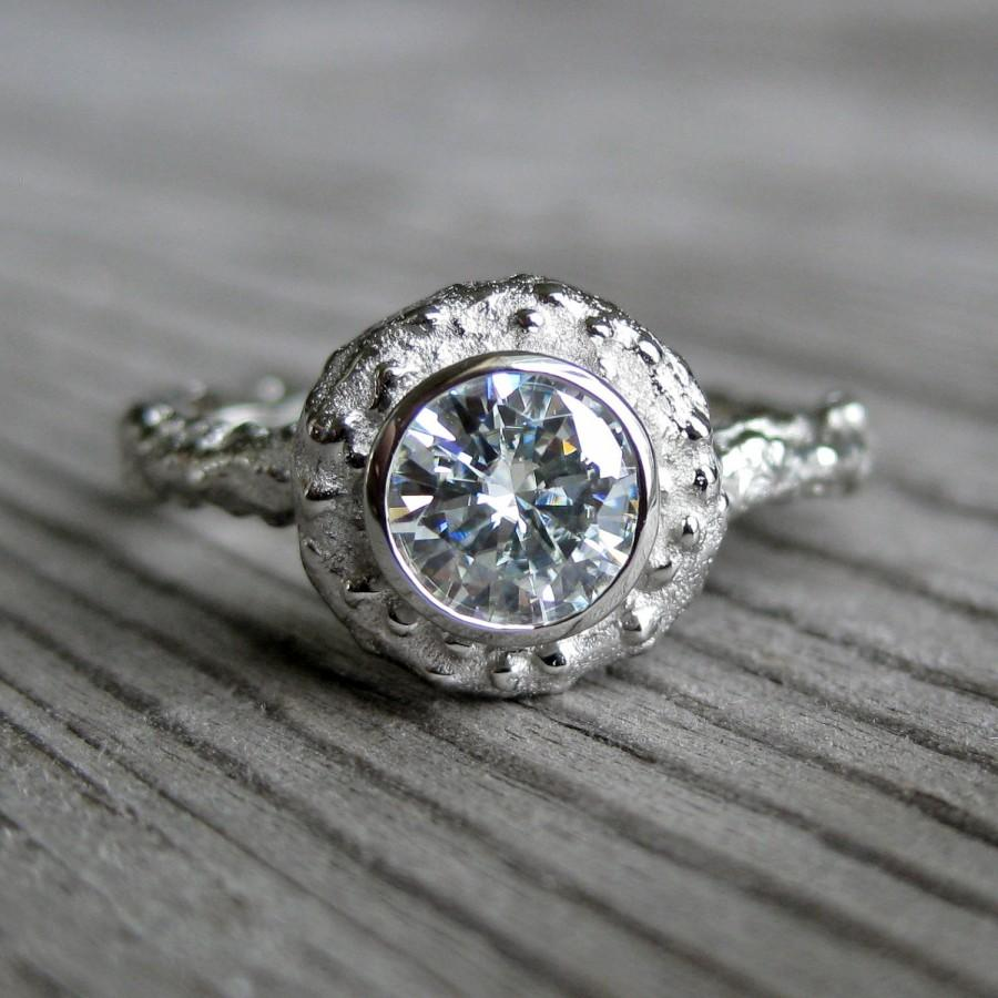 Свадьба - Moissanite Engagement Twig Halo Ring: White, Yellow, or Rose Gold; .50ct Forever Brilliant ™